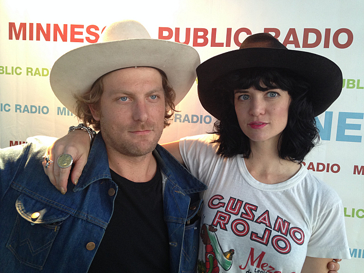 Frankie Lee and Nikki Lane at the MPR booth at the Minnesota State Fair.