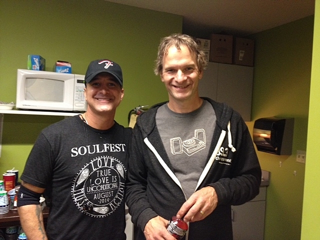 Singer-songwriter Scott Stapp and The Current's Jim McGuinn meet backstage at the Leinie Lodge Bandshell at the Minnesota State Fair.