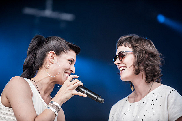 Dessa and Aby Wolf performing live at Rock the Garden 2014.