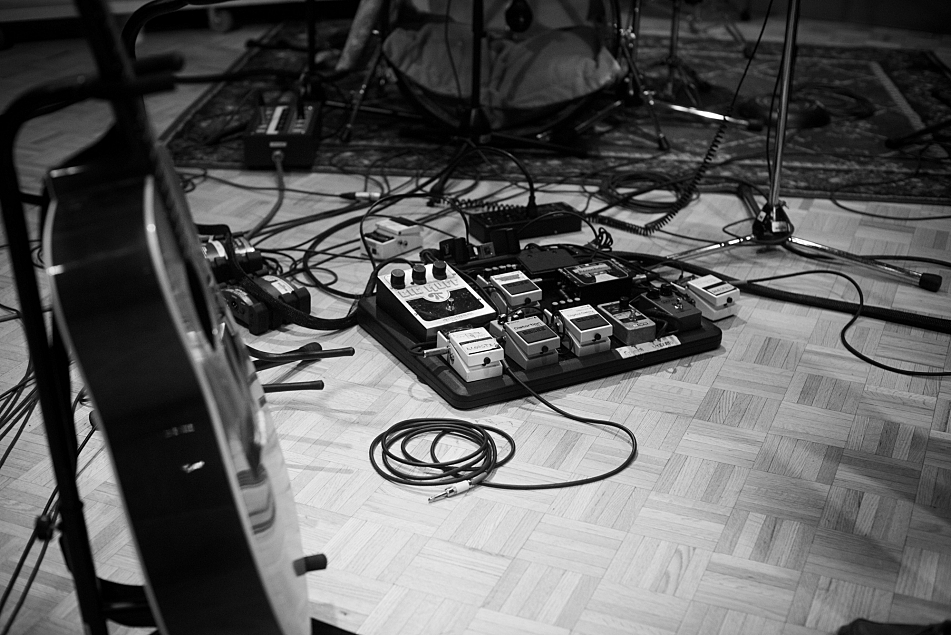 Guitar and effects board as Shovels & Rope perform in The Current studio.