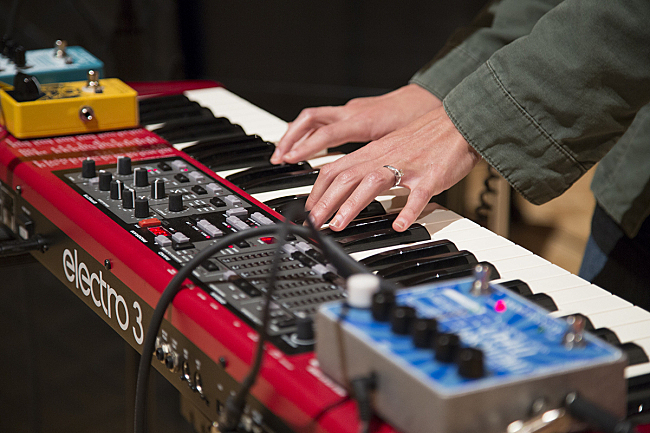 Amy Cole of the Rural Alberta Advantage plays the keys live in The Current studio.