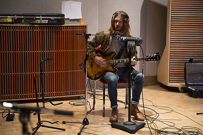 Guitarist Ben Edgar performing live with Angus & Julia Stone in The Current studio.