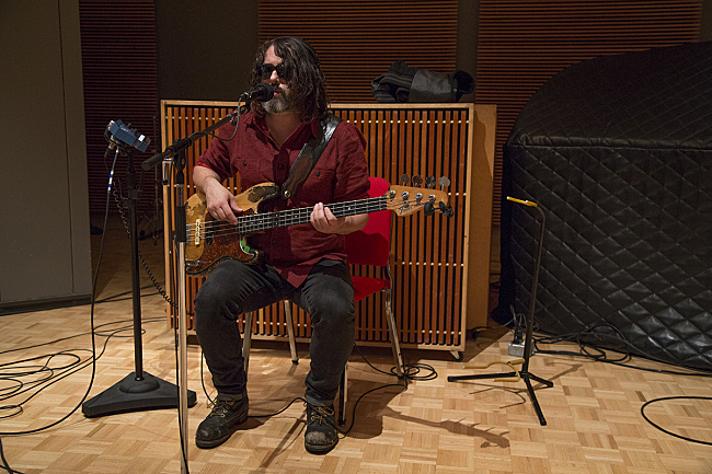 Bassist Rob Calder performing live with Angus & Julia Stone in The Current studio.