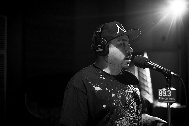 Mike Mictlan performing live in The Current studio.