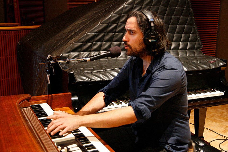 Andres Vial of the Barr Brothers performs in The Current studio