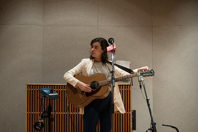Sarah Krueger performing live in The Current studio.