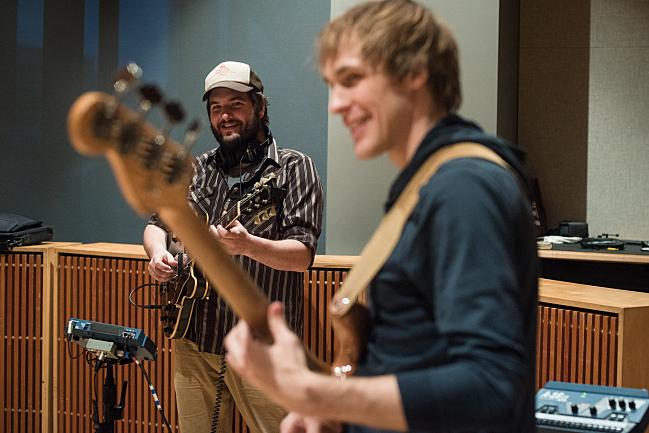 Guitarist Nate Case and bass guitarist Steve Garrington performing live with Sarah Krueger in The Current studio.