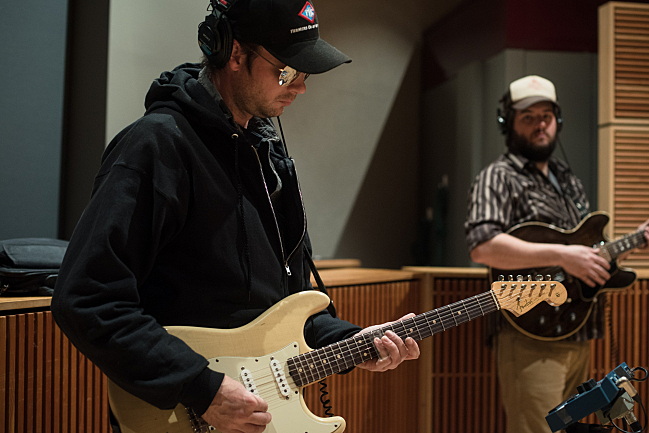 Guitarists Erik Koskinen and Nate Case performing with Sarah Krueger live in The Current studio.