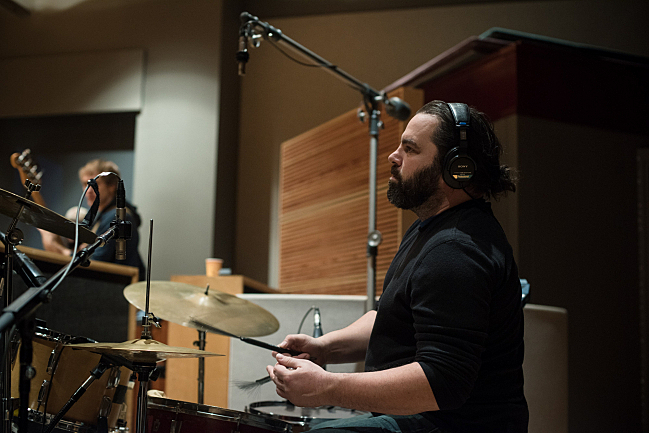 Drummer JT Bates performing with Sarah Krueger live in The Current studio.