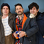 Members of Dr. Dog, in The Current's studios