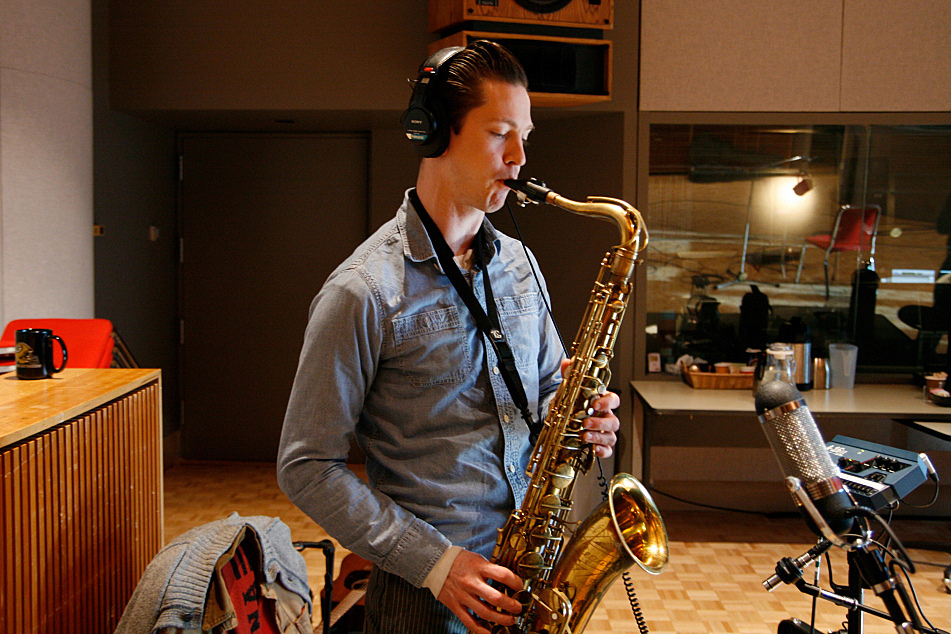 Doug Corcoran on tenor sax with JD McPherson in The Current's studio.