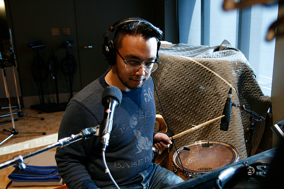 Ray Jacildo on tom and keys with JD McPherson in The Current's studio.