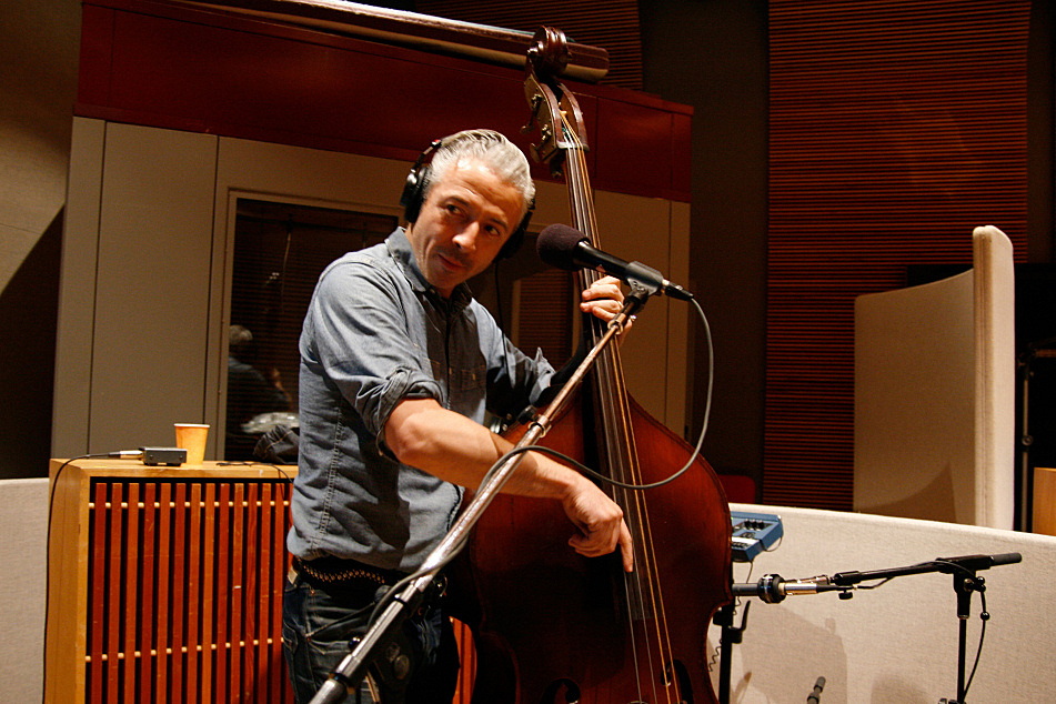 Jimmy Sutton on bass with JD McPherson in The Current's studio.