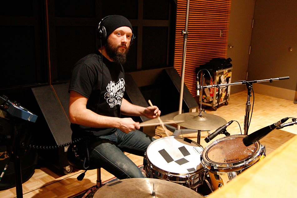 Jason Smay on drums with JD McPherson in The Current's studio.