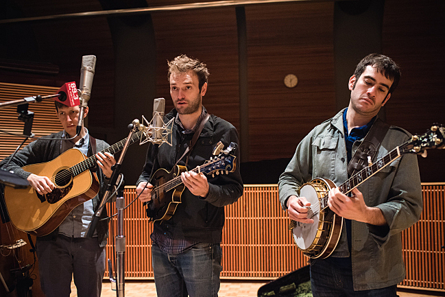 Guitarist Chris Eldridge, mandolinist Chris Thile and banjoist Noam Pikelny performing as Punch Brothers live in The Current studio