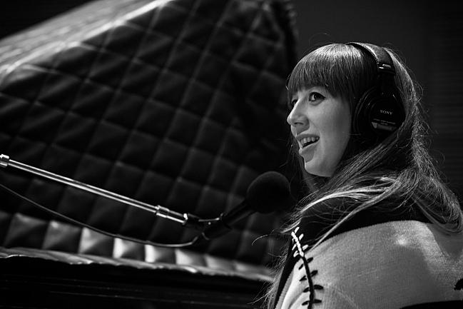 Pianist Lauren Perez performing with BORNS live in The Current studio