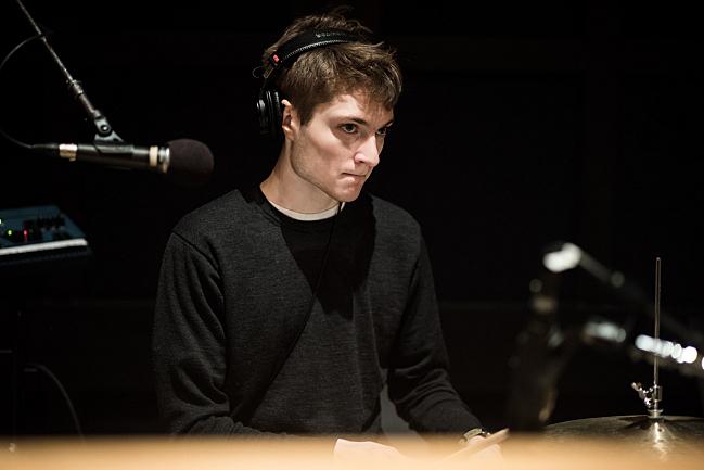 Tweedy's Spencer Tweedy performing live in The Current studio