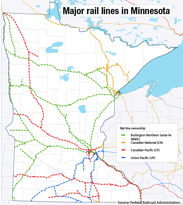 Twin Cities Railroad Map