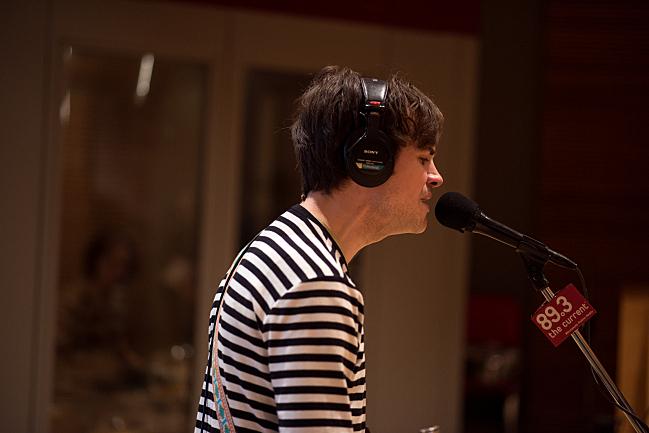Alvvays guitarist Alec O'Hanley performing live in The Current studio