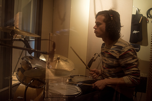 Alvvays drummer Phil MacIsaac performing live in The Current studio