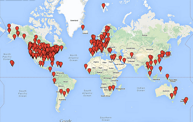 Mark Wheat's global shout-out map, April 2, 2015