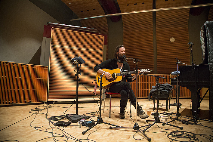 Father John Misty performing live in The Current studio
