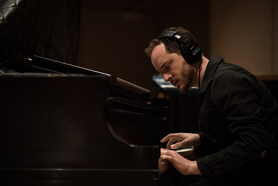 Pascal on piano with Meg Mac in the studio