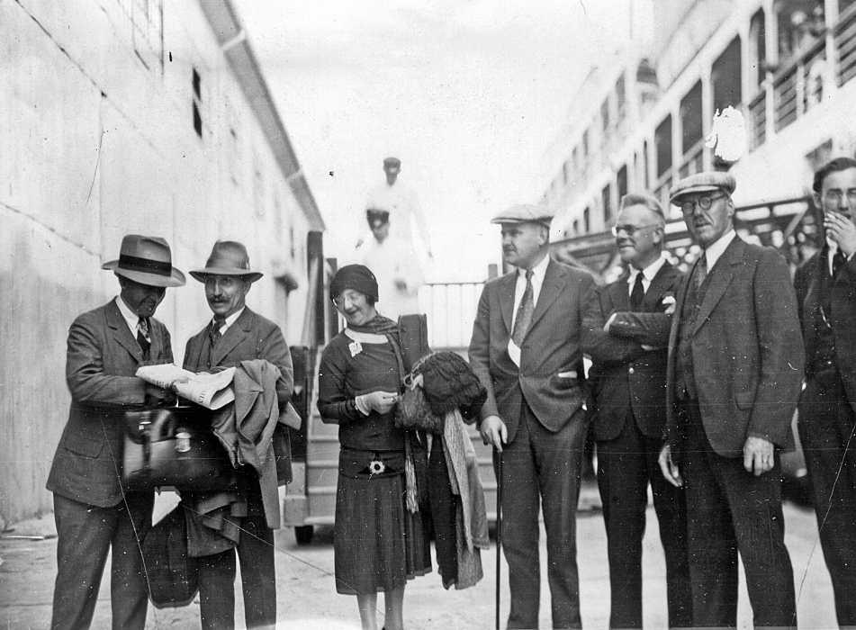 Boarding a ship in Havana at the end of the Minneapolis Orchestra's 1929 Cuban tour: (from left) violinist and Personnel Manager Max Schellner, Music Director Henri Verbrugghen, violinist Jenny Cullen, Orchestra Manager Arthur J. Gaines, trombonist Fred Molzahn, cellist Chris Erck and violist Russell Barton.