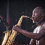 Seun Kuti performing live at Rock the Garden 2015