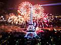 Fireworks on the Eiffel Tower during Bastille Day 2013, photographed from the Montparnasse Tower.