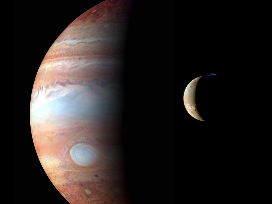 In February of 2007, New Horizons passed Jupiter and the ever-active Jovian moon Io. In this montage, Jupiter was captured in three bands of infrared light making the Great Red Spot look white. Complex hurricane-like ovals, swirls, and planet-ringing bands are visible in Jupiter's complex atmosphere. Io is digitally superposed in natural color.