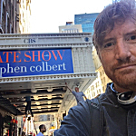 Brian Stack outside the Ed Sullivan Theater in New York, home to 'The Late Show with Stephen Colbert'.