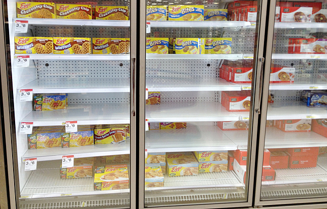 The freezer shelves on August 22.