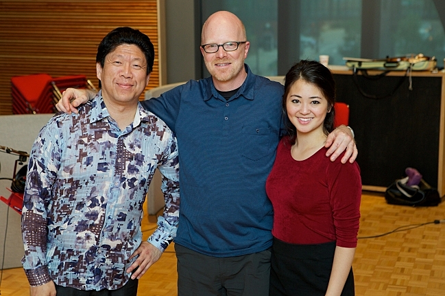 Meng-Chieh Liu, PT host Fred Child, and Simone Porter at the Maud Moon Weyerhaeuser Studio in St. Paul, MN.