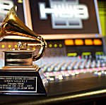 Grammy Award statuette for Simon Gogerly, engineer on 2006 Album of the Year, U2's 'How to Dismantle an Atomic Bomb'.