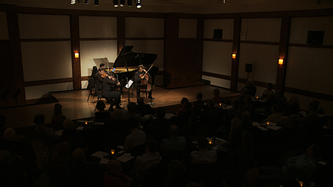 Colin Carr, Chad Hoopes, Matthew Lipman, and Michael Brown perform in the intimate Daniel and Joanna S. Rose Studio at Lincoln Center in New York