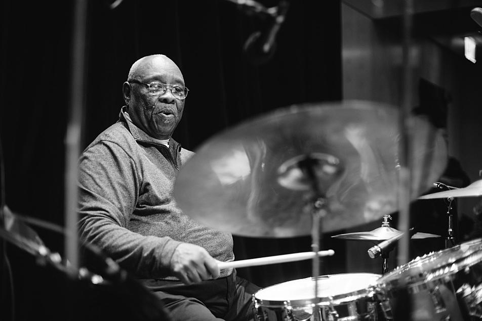 "Drummer John ""Jabo"" Starks in studio at The Current."
