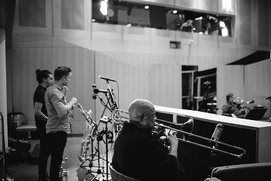 Fred Wesley and the Lakers' horn section warm up in The Current studio.