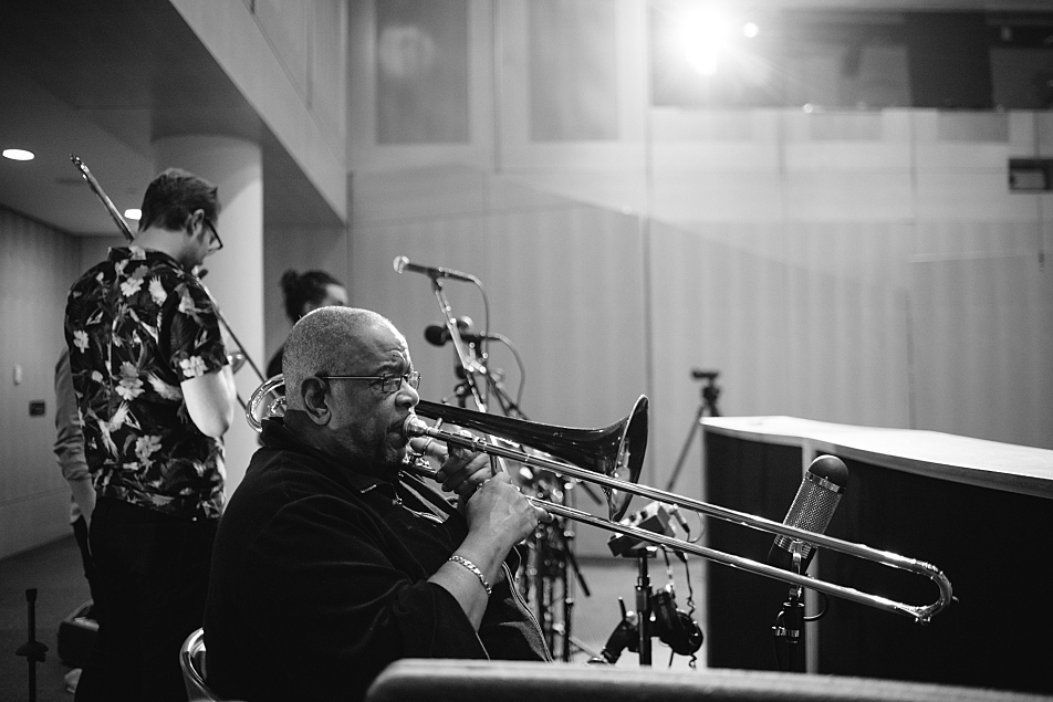 Fred Wesley sound-checks in the Forum at MPR ahead of an in-studio session on The Current.