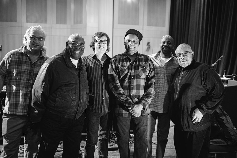 L to R: The Current's Michael DeMark, Jabo Starks, The Current's Bill DeVille, Sonny Knight, The Current's Derrick Stevens, and Jabo Starks.