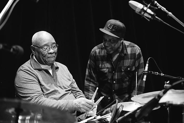 Sonny Knight, at right, talks to legendary drummer Jabo Starks