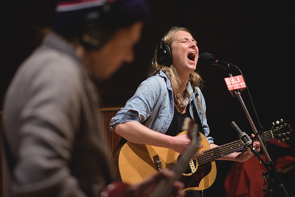 Lissie performs in The Current studio, accompanied by Stephen Howard (foreground) on lead guitar.