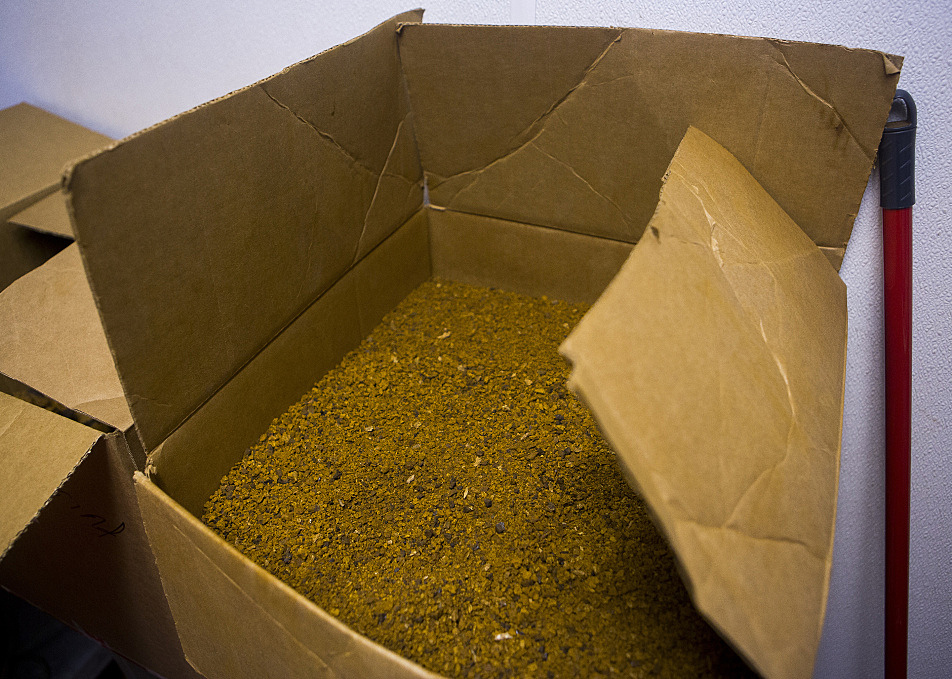 Chaga is often used to brew tea and this box contains finely ground chaga at Icecube Enterprises.