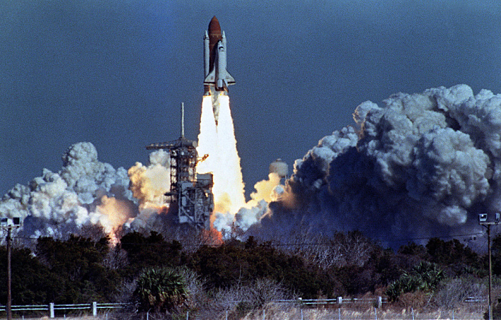 The space shuttle Challenger lifts off Jan. 28, 1986, from Kennedy Space Center.