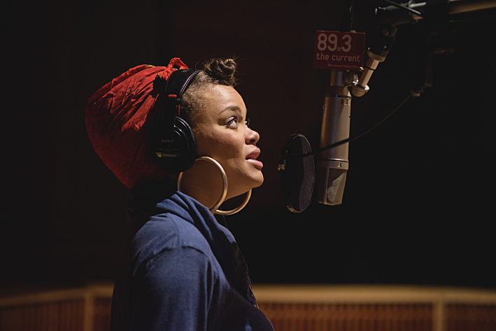 Andra Day performs in The Current studio