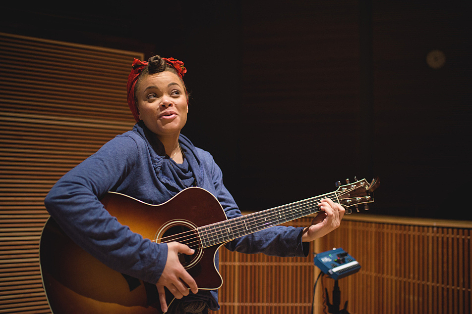 Andra Day shares how her guitar lessons have been going after wrapping her session at The Current.