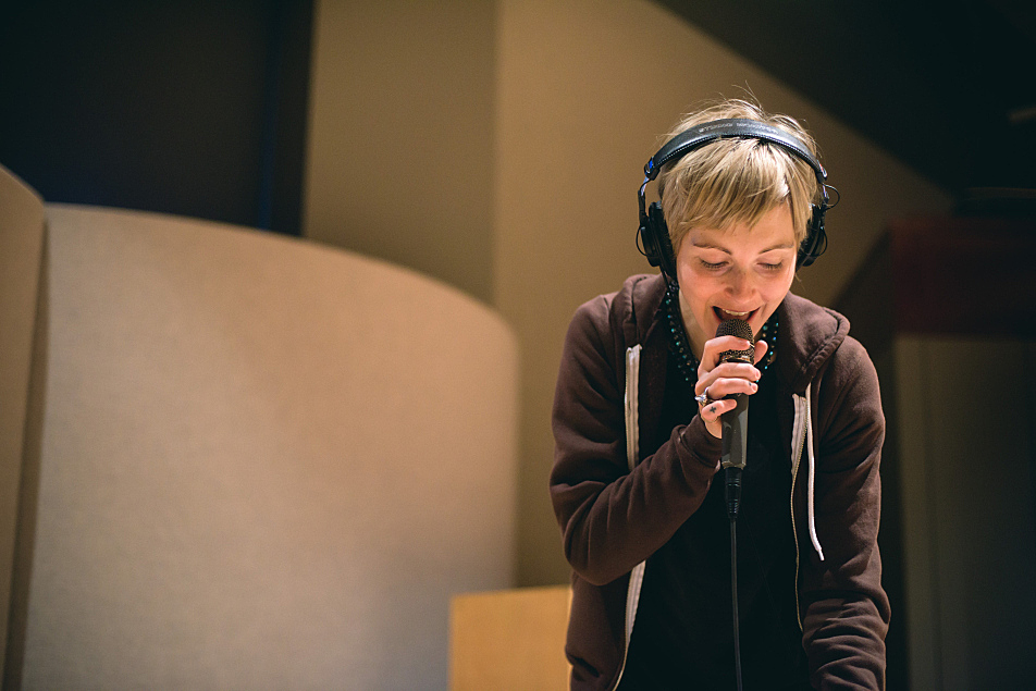 Channy Leaneagh of Polica performs in The Current studio