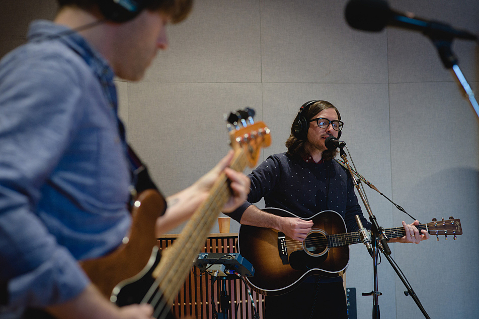 Martin Courtney performs in The Current's studio. Bassist Jarvis Taveniere is in the foreground.