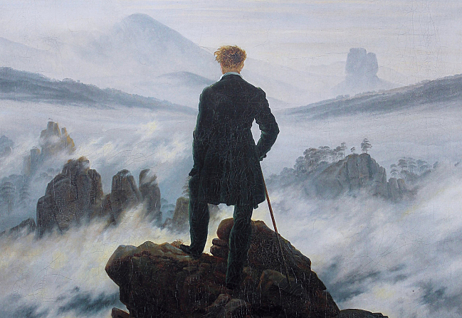 Caspar David Friedrich's 'Wanderer Above the Sea of Fog' (detail, above) is the quintessential Romantic painting -- but it's not particularly romantic.