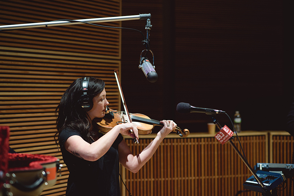 Amanda Shires plays fiddle with Jason Isbell in The Current studio.